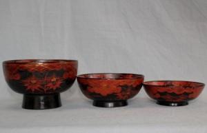 本県は古来生漆の生産地として知られているが、漆器の産もかなり昔からのように伝えられている。