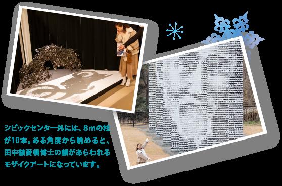 シビックセンター外には、8mの柱が10本。ある角度から眺めると、田中舘愛橘博士の顔があらわれるモザイクアートになっています。